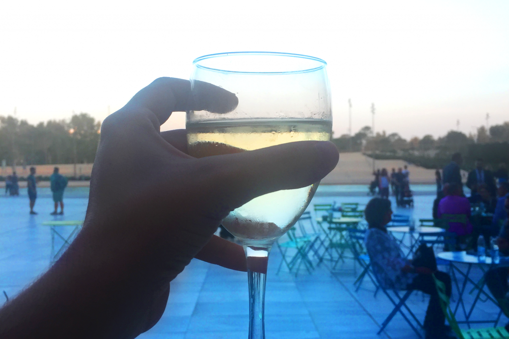 Microsoft Conference , relax with glass of wine